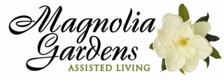 Logo with a magnolia flower. The logo says Magnolia Gardens assisted living.