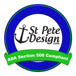 Logo that says A D A Section 508 compliant by Saint Pete Design.com